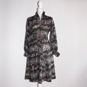 Vintage Floral Belted Dress w/ Pockets